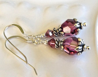 Vintage Mauve Crystal Earrings in Silver