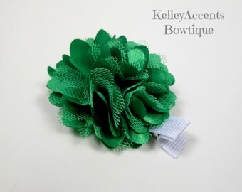 Green Satin Mesh Flower Hair Clip - Green Satin Tulle Flower Hair Clip