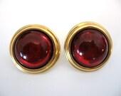 Vintage NAPIER Red Cabochon Large Button Earrings