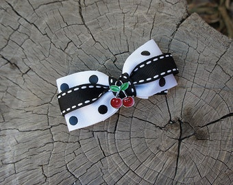 Olivia Paige -Punk rock Rockabilly  cherries  Pin Up polka dot hair clip