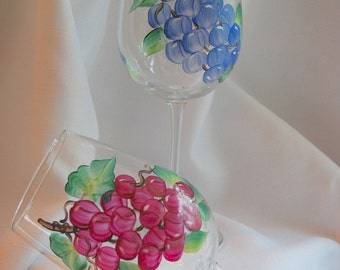 Hand-painted Wine Glasses - grapevine - set of 2