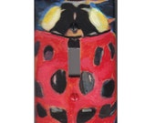 Ladybug light switch cover painting folk Art cover plate kids room CAAT