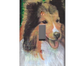 Collie light switch cover painting Art Sheltie Sheep Dog single plate