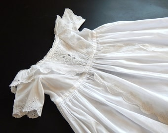 Antique Ayrshire Christening Gown Fine Hand Embroidery
