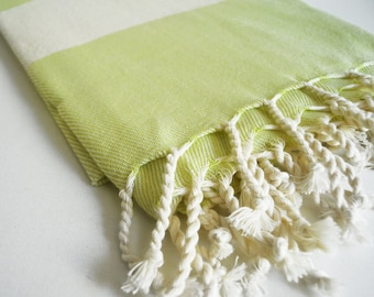 Bathstyle Turkish BATH Towel Peshtemal - SOFT - Citronelle Color - Wedding Gift, Beach, Spa, Swim, Pool Towels and Pareo