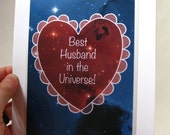 Outer Space Valentines Day Card, Custom Blank Card, Best Friends, Friendship, I Love You Greeting Card