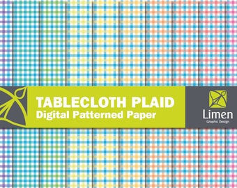 Tablecloth Digital Paper Pack, Picnic Tablecloth Paper, Gingham Digital Paper, Plaid Paper, Gingham Paper, Gingham Pattern, Retro Summer