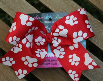 Glitter Red and White Cheer bow, Red cheer bow, Paw cheer bow, Red Glittery Paws Small Cheer Bow