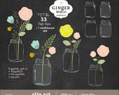 Mason Jars Clipart, chalkboard Flowers clipart , personal use, commercial use