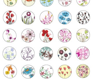 Digital Collage Art Circle 1x1-Sweet Simple Flower Pendant Sheet No.121 Instant Download