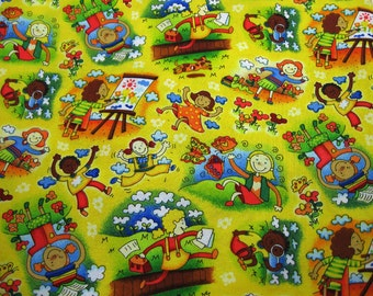 Yellow Fabric with Kids Playing