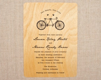 Real Wood Wedding Invitation - Tandem Bike
