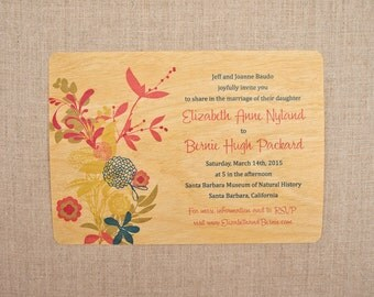 Real Wood Wedding Invitations - Bright Botanical