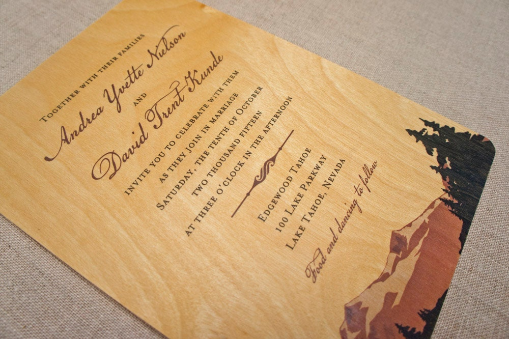 Real Wood Wedding Invitations: Real Wood Wedding Invitations Mountain Black Trees