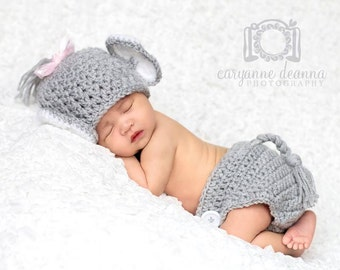 Newborn Elephant Hat and Diaper Cover