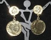 1980's Gold Tone Faux Coin Dangle Earrings