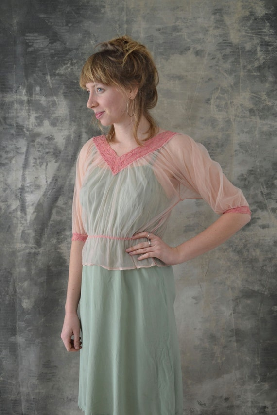 1950s Sheer Pink Blouse, Lace Trim