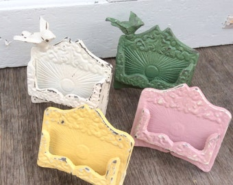 Business Card Holder-Wedding-Place Card Holder-Rustic Cast Iron-Distressed-New Office-Cottage Office-Buttercup Yellow- Metal Decor -Winter