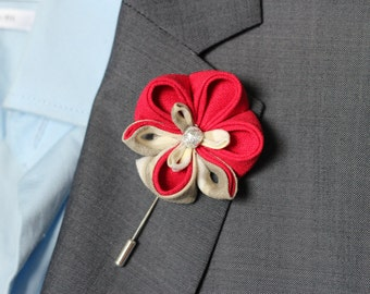 Red linen Orchid lapel flower, wedding boutonniere, lapel pin, mens lapel pin