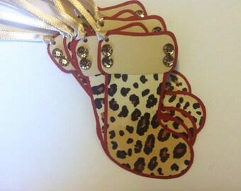 Gift Tags, Stockings,  Set of 8,  Hang Tags, Animal Print, Holidays, Christmas