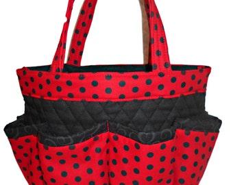 Red and Black Polka Dot Bingo Bag // Craft Organizer // Makeup Organizer // Caddy // Teacher Tote // Nurse Tote