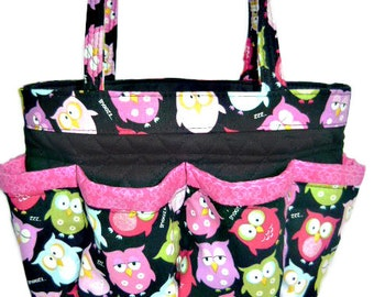 Owls Bingo Bag // Craft Organizer // Makeup Organizer // Caddy // Teacher Tote // Nurse Tote