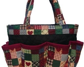 Country Heart Print Bingo Bag // Craft Organizer // Makeup Organizer // Caddy // Teacher Tote // Nurse Tote
