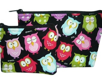 Owls Makeup and Coin Bag Set