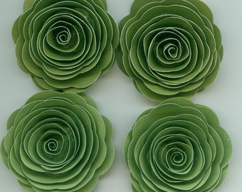 Double Green Handmade Rose Spiral Paper Flowers