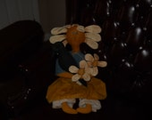 Primitive Flower doll painted softsculpture