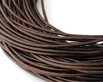 LRD0110051) 1.0mm Tamba Genuine Metallic Round Leather Cord.  1 meter, 3 meters, 5 meters, 10 meters, 17.2 meters.  Length Available.
