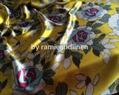 "silk fabric, deep pink and blue roses on mustard yellow silk satin, pure mulberry Silk Charmeuse Fabric, dress fabric, half yard by 44"" wide"