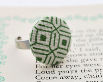 Geometric ring - fabric button ring in green and white geometric fabric