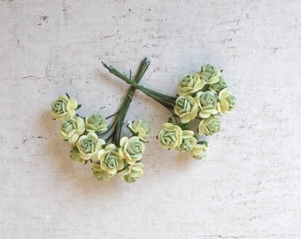 Mini Mulberry Paper Roses, Wedding, Scrapbooking, Mixed media, light green