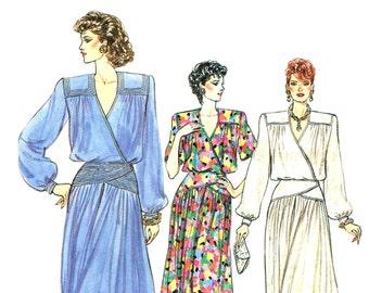 Vintage Mock Wrap Dress Pattern Uncut Vogue 9517 Bust 34 Size 12 1980s