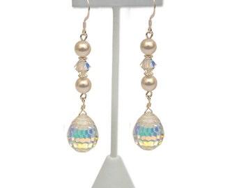 Swarovski Crystal & Pearl Teardrop Bridal Earrings