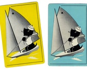 SAILOR SCOTTY (2) Vintage Playing Cards Single Swap Paper Ephemera Scrapbook