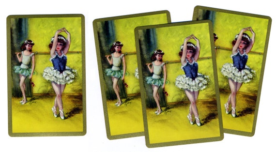 TINY DANCERS (4) Vintage Single Swap Playing Cards Paper Ephemera Scrapbook Supplies