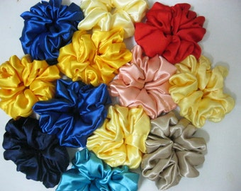12 Satin Hair Scrunchies - CUSTOM MADE