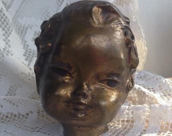Antique~Statue Bust Head~SALVAGE ,FRAGMENT Figural~Cupid~Golden Bronze Plaster Repurpose