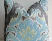 IKAT Decorative Pillow cover-Teal gray-throw pillow-designer pillow cover-accent pillow-tashkent-home decor-cushion cover-aqua-
