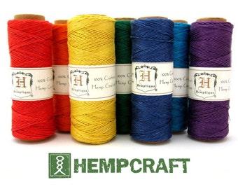 Micro Macrame Cord, Hemp Craft and Beading Jewelry String, 7 Spools in Rainbow Colors, 10lb 0.5mm, Hemp String, Bulk Hemp Beading Cord