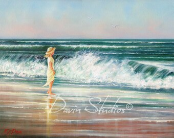 "Girl on the beach looking out to sea, waves crashing, ocean signed art print called ""What A Beautiful Day."""