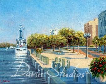 Diligence - US Coast Guard Diligence in downtown Wilmington, NC - giclee art print of original oil painting by Eleanor Davin