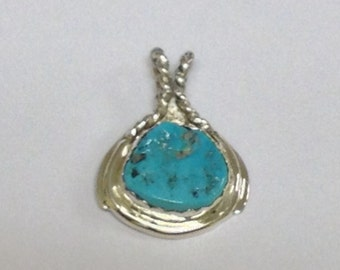 Sterling silver hand fabricated Freeform Turquoise Pendant