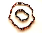 Baltic Amber Baby Anklet Teething Necklace Cherry Set