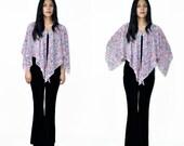 70s Vintage Floral BOHO Poncho