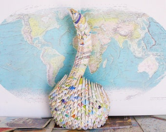 Paper Gift Idea / Swan / Map Art / Gift For Her Paper / First Anniversary Gift / Paper Anniversary / New Home Gift / First Anniversary /