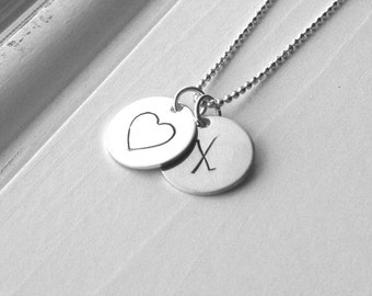Initial Necklace, Sterling Silver Initial Jewelry, Heart Necklace with Initial, Letter X Necklace, Heart Necklace, Monogram Necklace