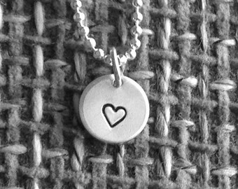 Small Heart Necklace, Sterling Silver Jewelry, Small Heart Pendant, Hand Stamped Jewelry, Small Heart Charm, Charm Necklace, Hearts, Heart